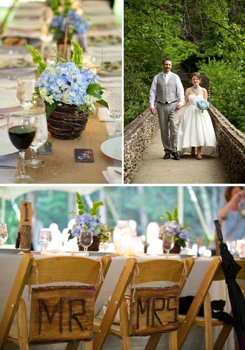 country western wedding ideas | burlap table runners, blue hydrangea