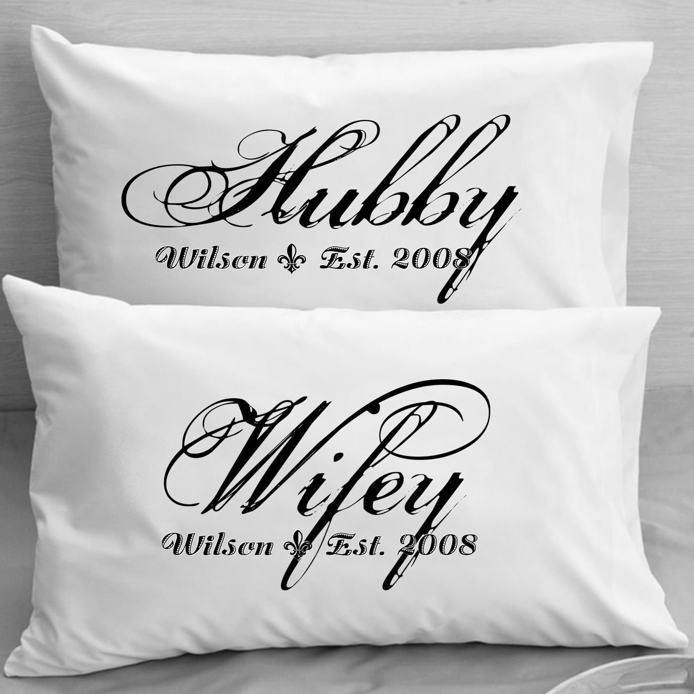 10 Fabulous Gift Ideas For Married Couples couples pillow cases custom personalized wifey hubby wife 1