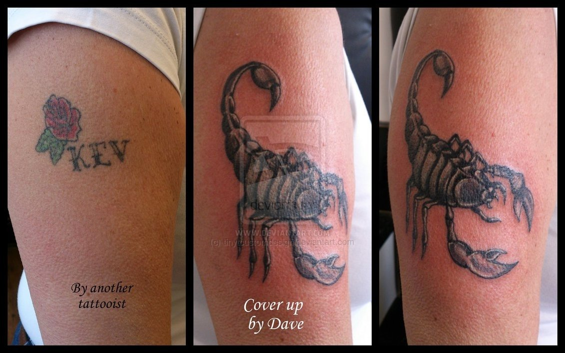 10 Stunning Name Tattoo Cover Up Ideas cover up of name scorpion cover up tattootinytcustomdesign on 2 2021