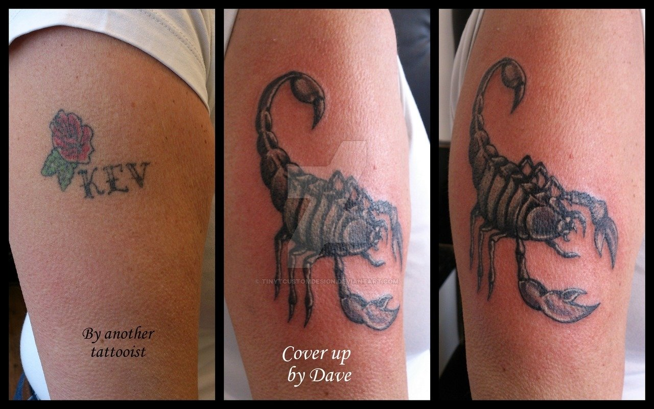 10 Trendy Tattoo Name Cover Up Ideas cover up of name scorpion cover up tattootinytcustomdesign on 2020
