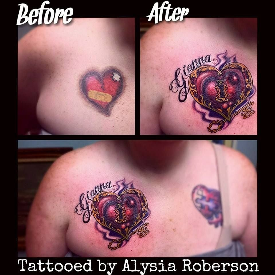 10 Stylish Heart Tattoo Cover Up Ideas cover up of old heart tattoo with a cool heart lock key and name 1 2020