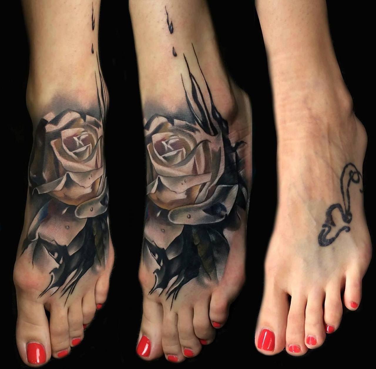 coverup tattoo | foot rose cover up tattoo design | best tattoo