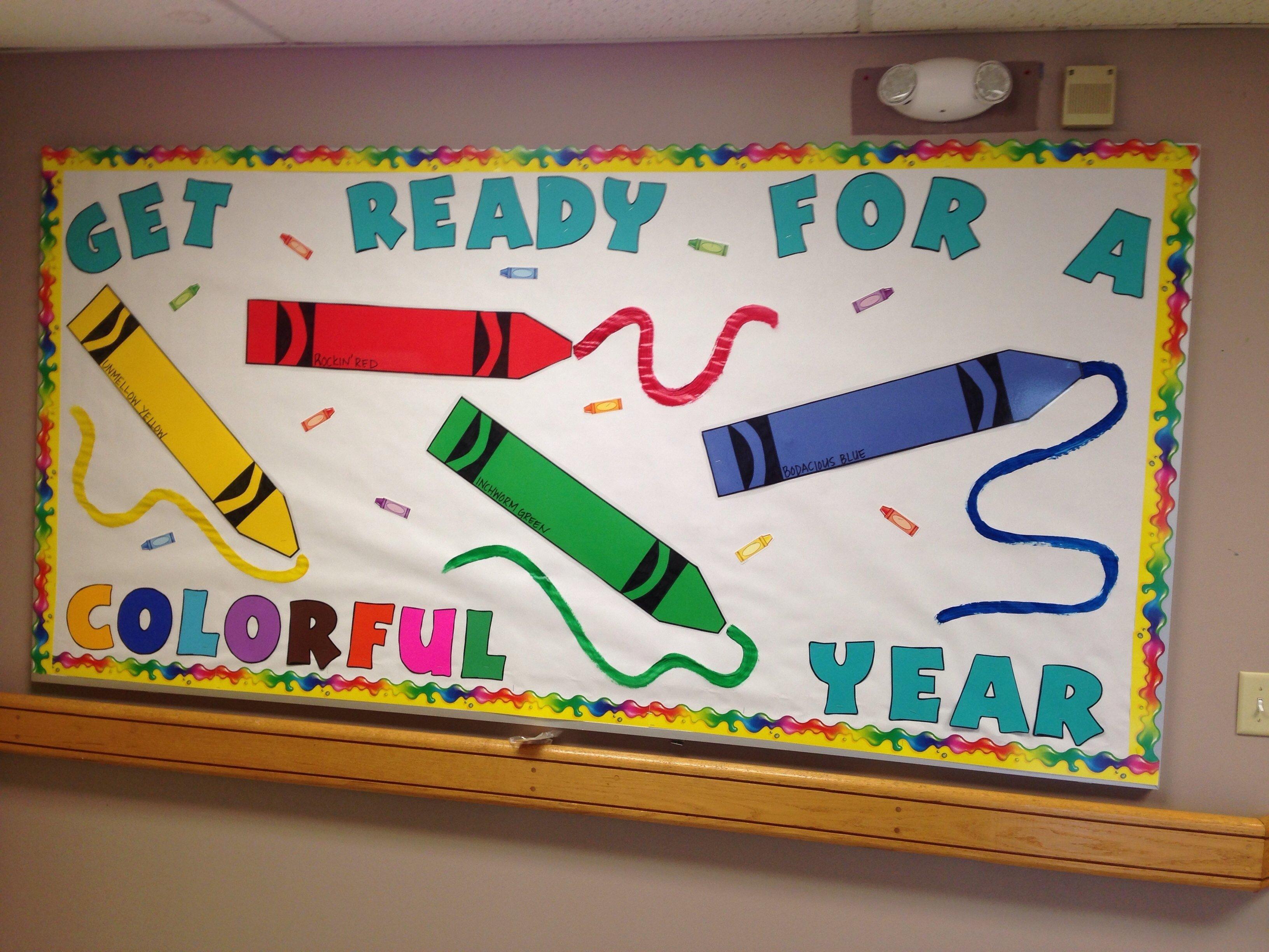 10 Elegant Bulletin Board Ideas For Back To School crayon bulletin board for back to school bulletin boards 2 2021
