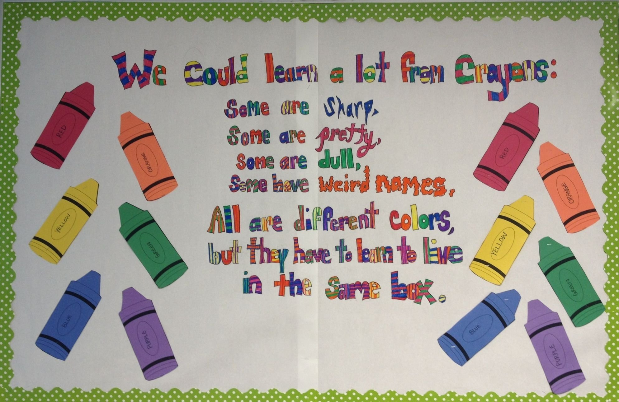 10 Most Recommended Beginning Of School Year Bulletin Board Ideas crayon poem bulletin board for the beginning of school year art 2020
