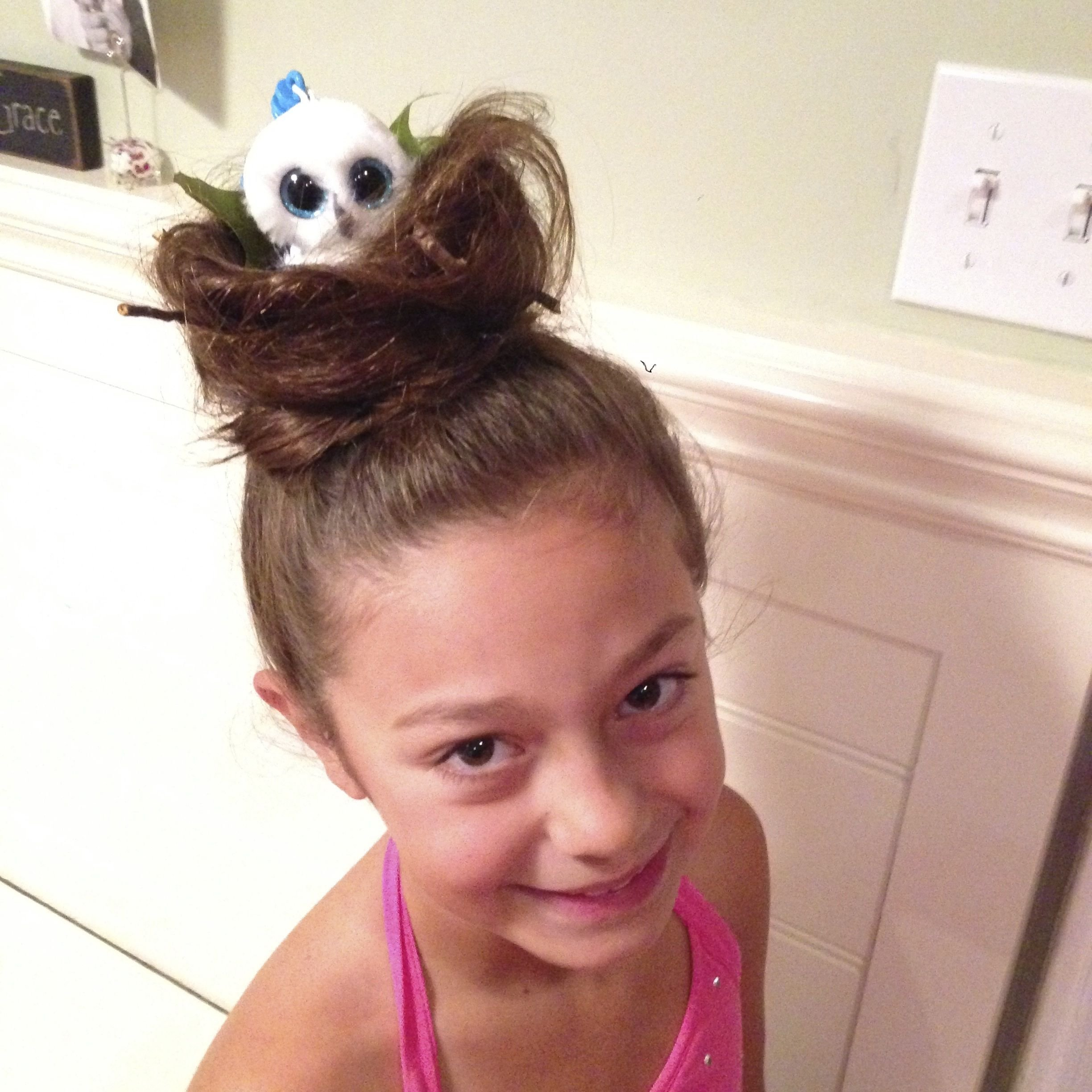 10 Wonderful Easy Crazy Hair Day Ideas For Girls crazy hair day bird nest with beanie boo owl in it so easy and so 2021