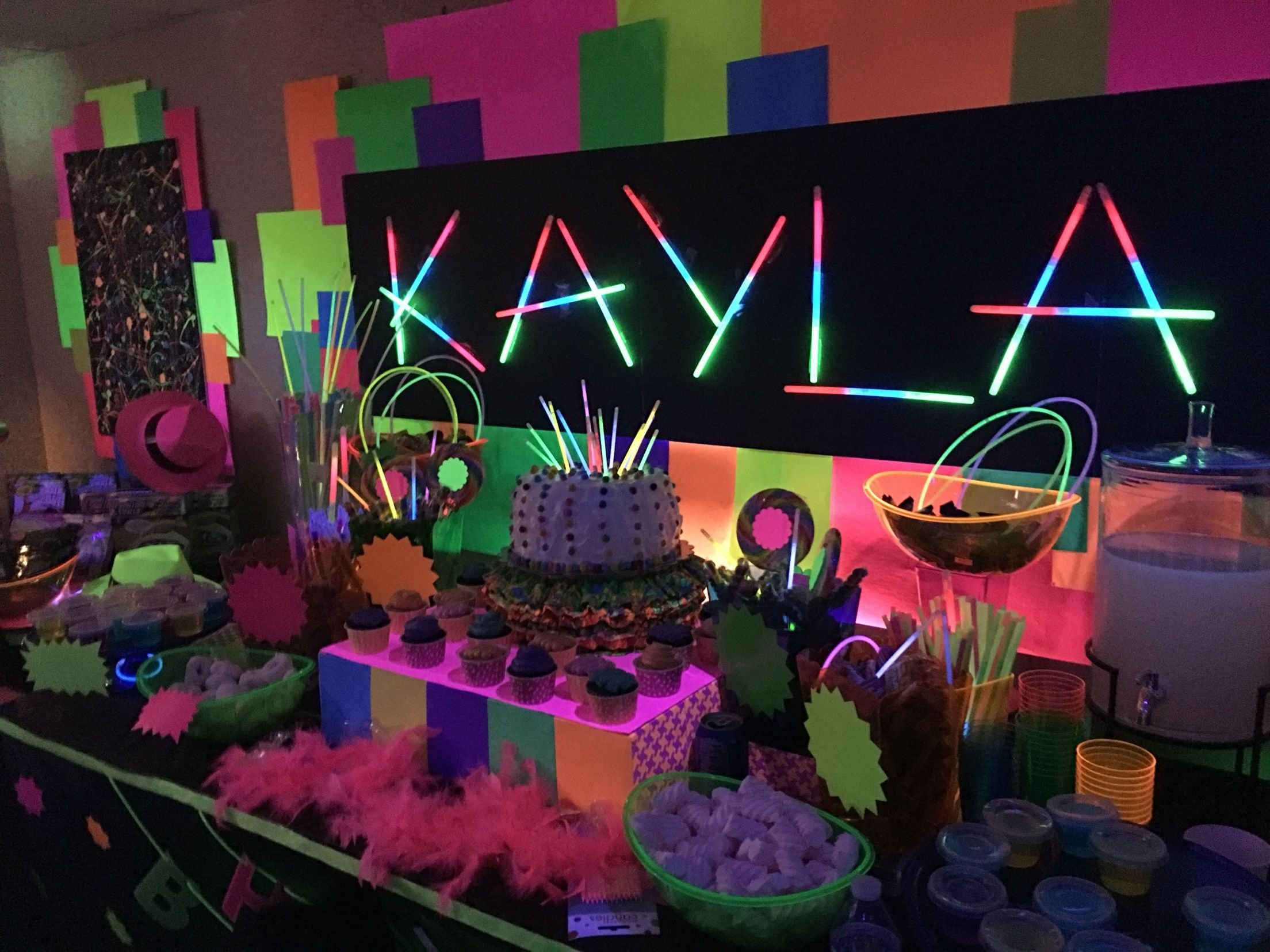 10 Elegant Glow In Dark Party Ideas created this dessert candy buffet and decor for my daughter kaylas 3 2020