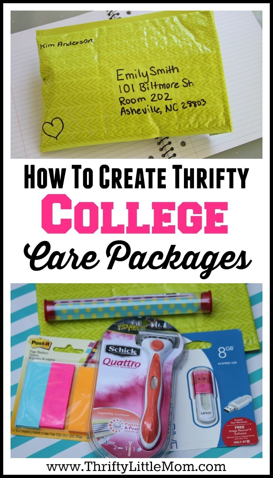 10 Stylish Care Package Ideas For College Girls creating thrifty college care packages hug college and create