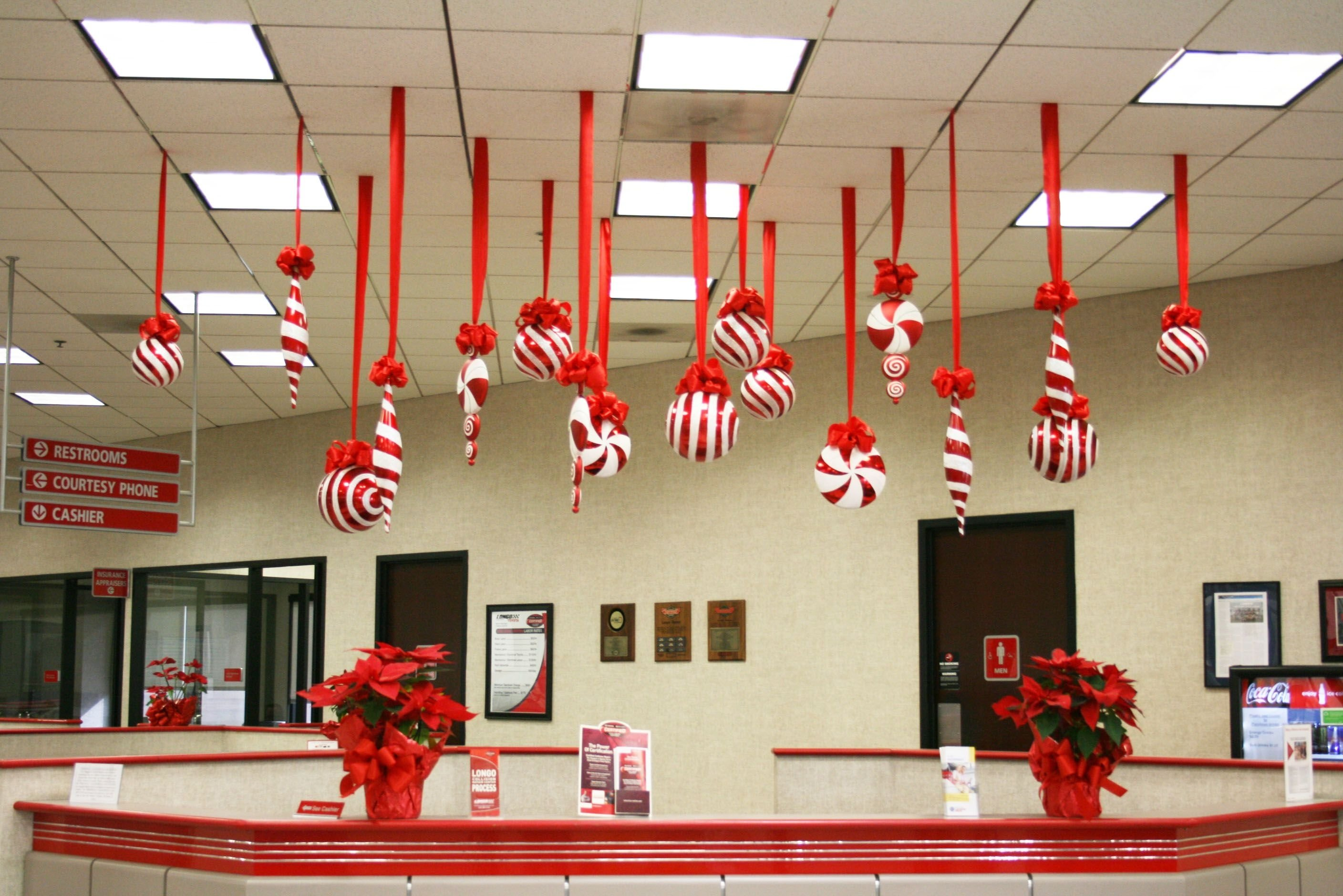 creative inspirational work place christmas decorations | ceiling