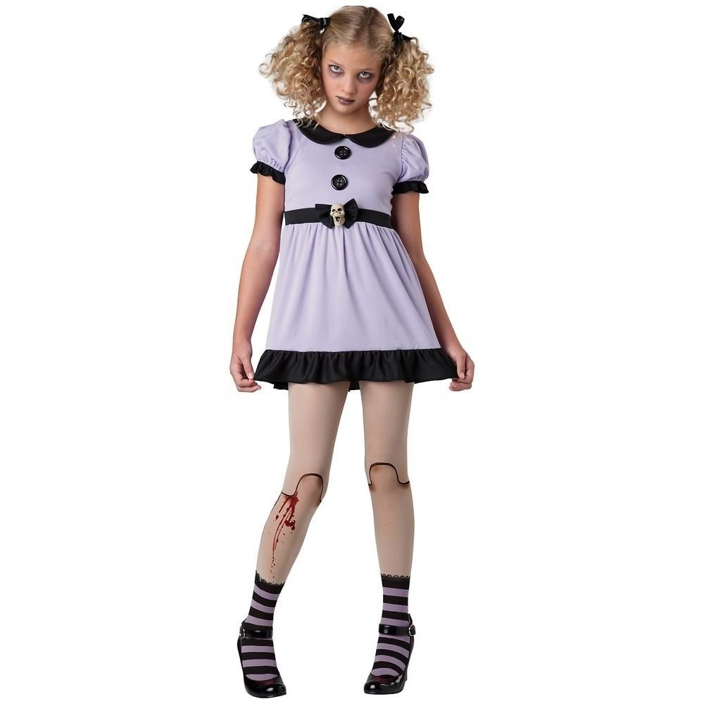 10 Fashionable Scary Costume Ideas For Girls creepy doll costume tween kids dead dolly gothic scary halloween 1