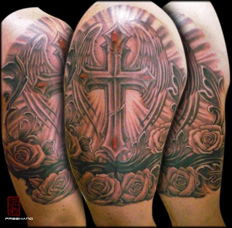 10 Fabulous Cross Tattoo Cover Up Ideas cross armband eddie loven cover up tattoo tattoomagz 2021