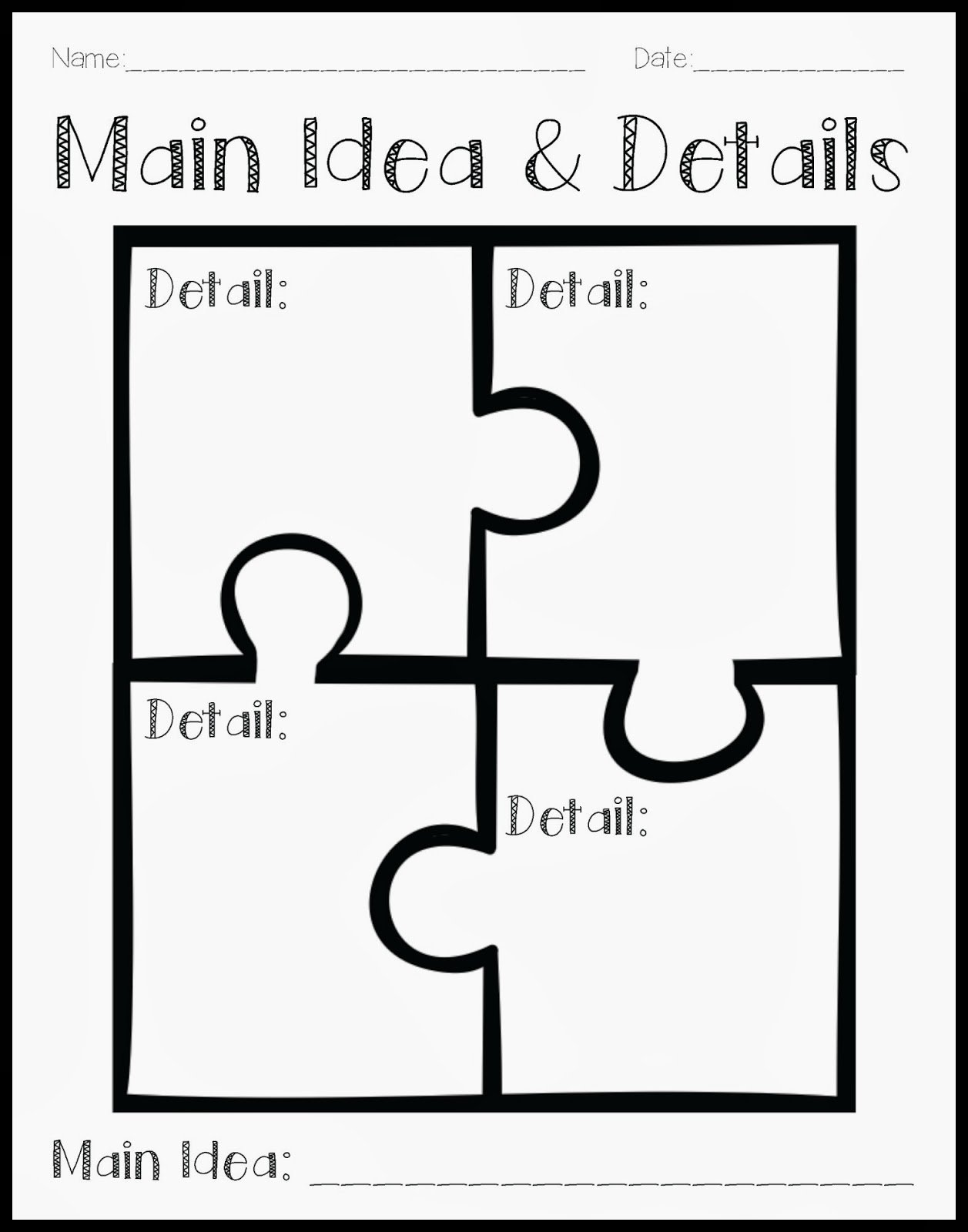 10 Spectacular Main Idea Detail Graphic Organizer crystals classroom using a puzzle to teach main idea and details 1