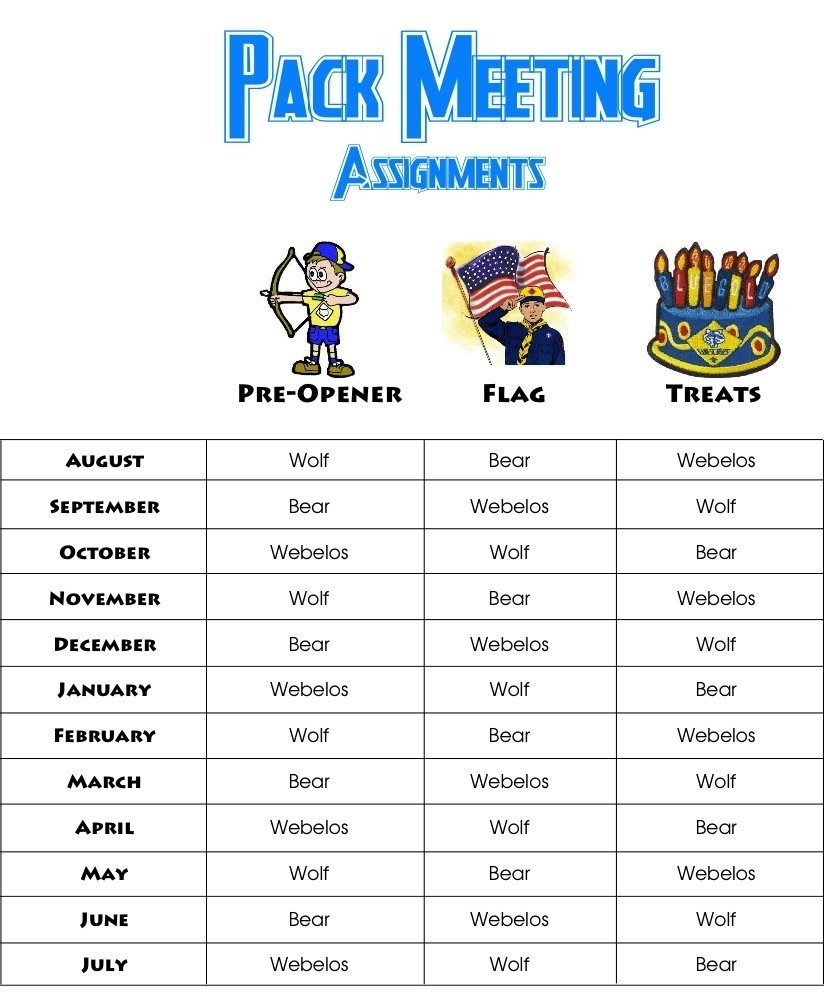 10 Lovely Ideas For Boy Scout Meetings cub scout pack meeting yearly rotation of assignments for pre boy 2020