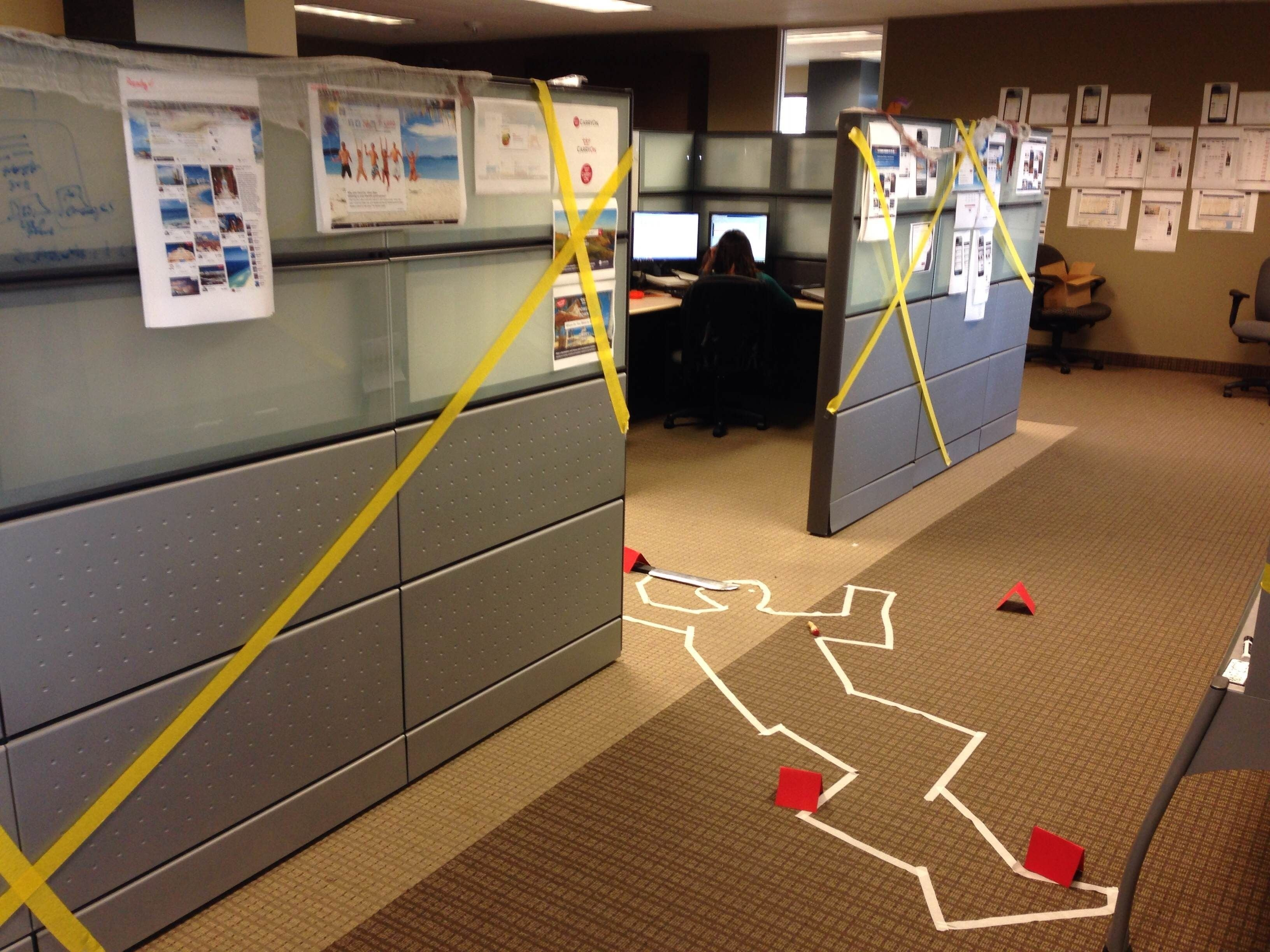 10 Pretty Halloween Ideas For The Office cube decorating contest in the office happy halloween crime scene 1 2020