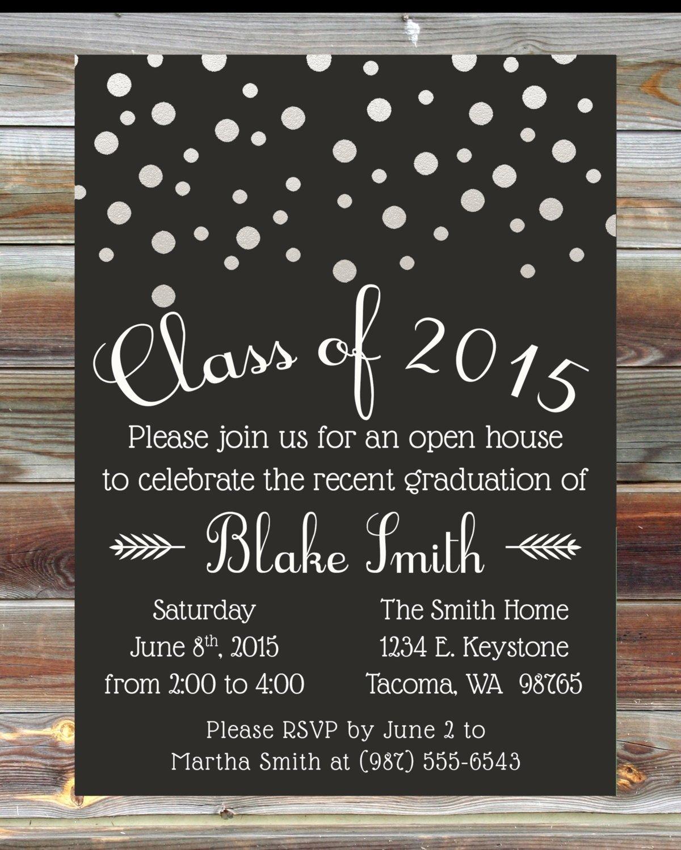 10 Pretty High School Open House Ideas custom color graduation open house invitation champagne grad party 2021