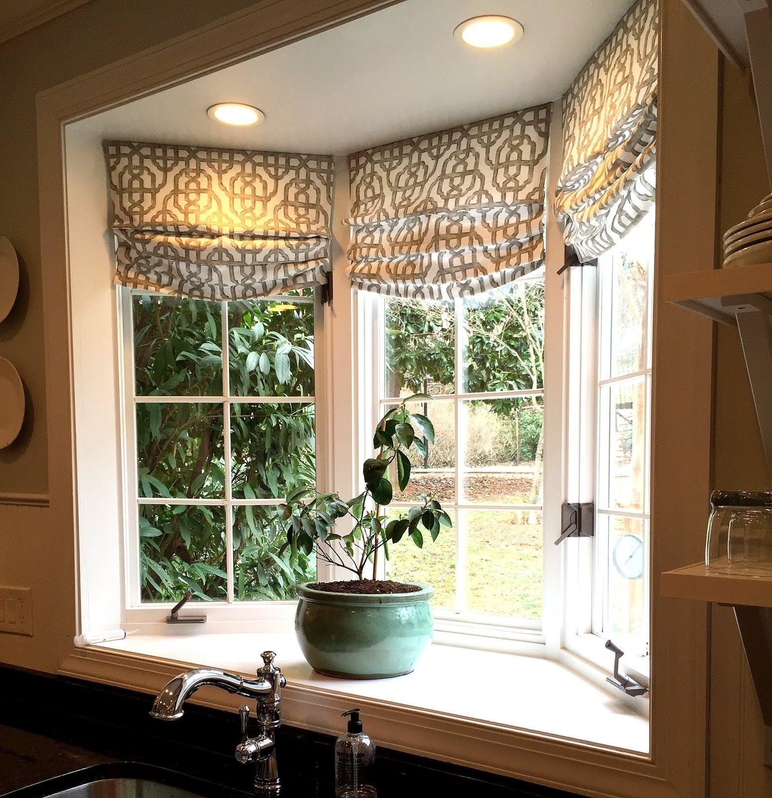 custom roman shades in lacefield imperial bisque fabricthe yard