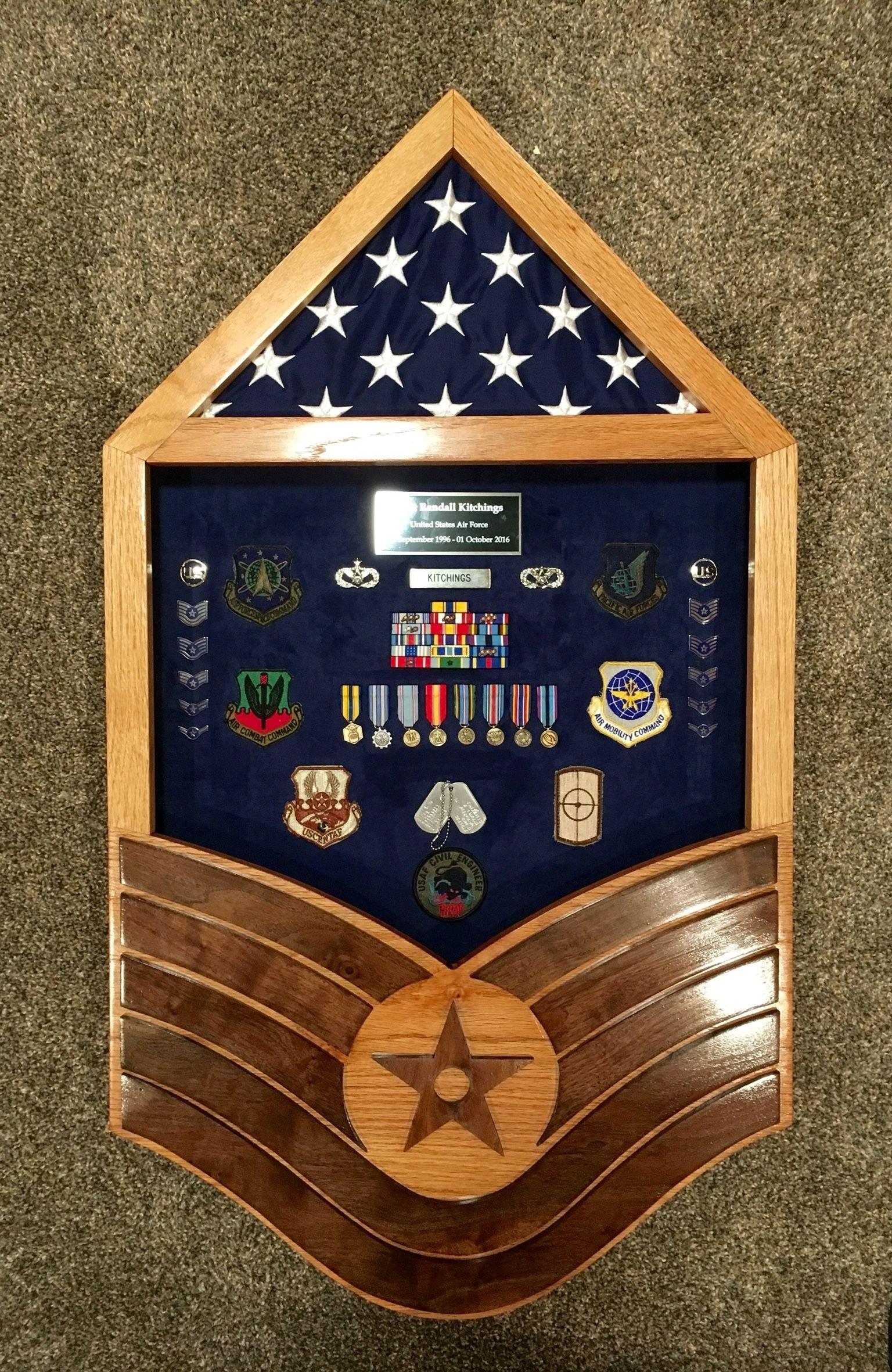 custom solid oak and walnut air force tsgt stripe shadow box. $275