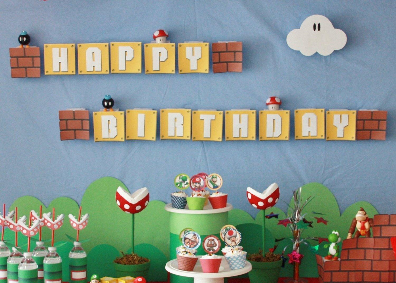 10 Stylish Super Mario Bros Birthday Party Ideas custom super mario bros printable package banner 9 00 via etsy 2020