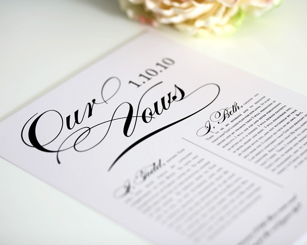 10 Famous Wedding Vow Ideas For Her custom wedding vows first anniversary gift for him paper 3 2020