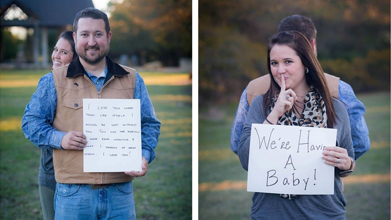 10 Pretty Pregnancy Announcement Ideas For Husband cute baby announcement husband has no idea what wifes sign says 1 2020