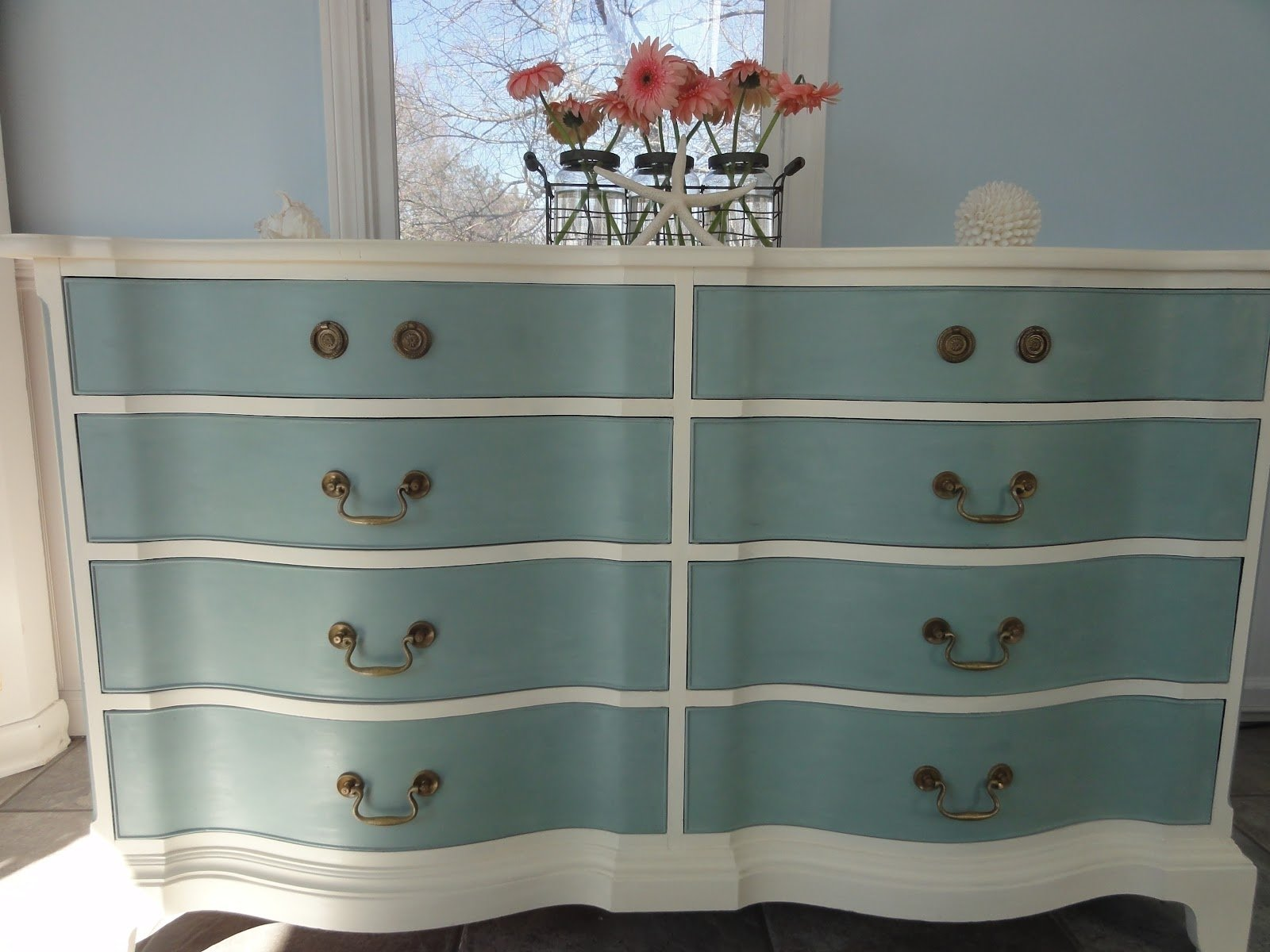 10 Pretty Annie Sloan Painted Furniture Ideas cute chalk paint light blue and white double dresser furniture idea 1 2020
