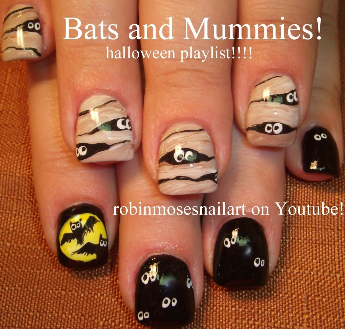 10 Lovable Easy Halloween Nail Art Ideas cute halloween nail art 2 nail designs bats and mummy nails 2020
