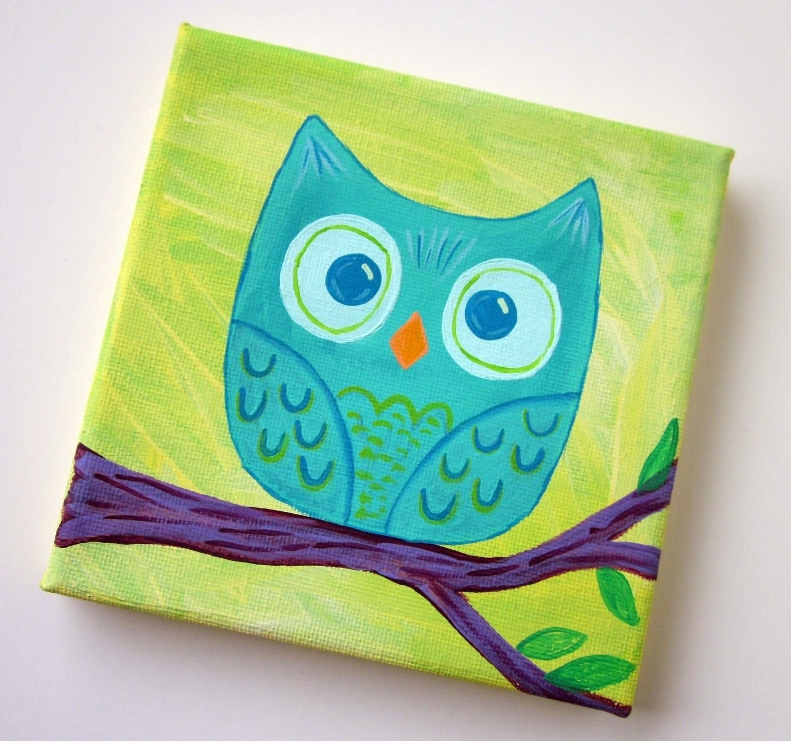 cute owl canvas paint idea for wall decor. owl on a branch. canvas
