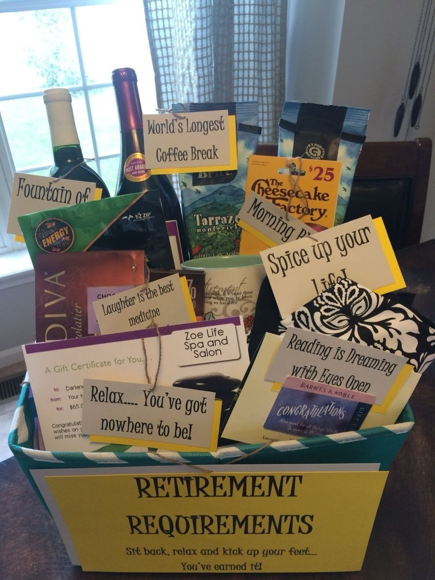 10 Most Recommended Ideas For A Retirement Party cute retirement gift basket diy pinterest retirement 2 2020