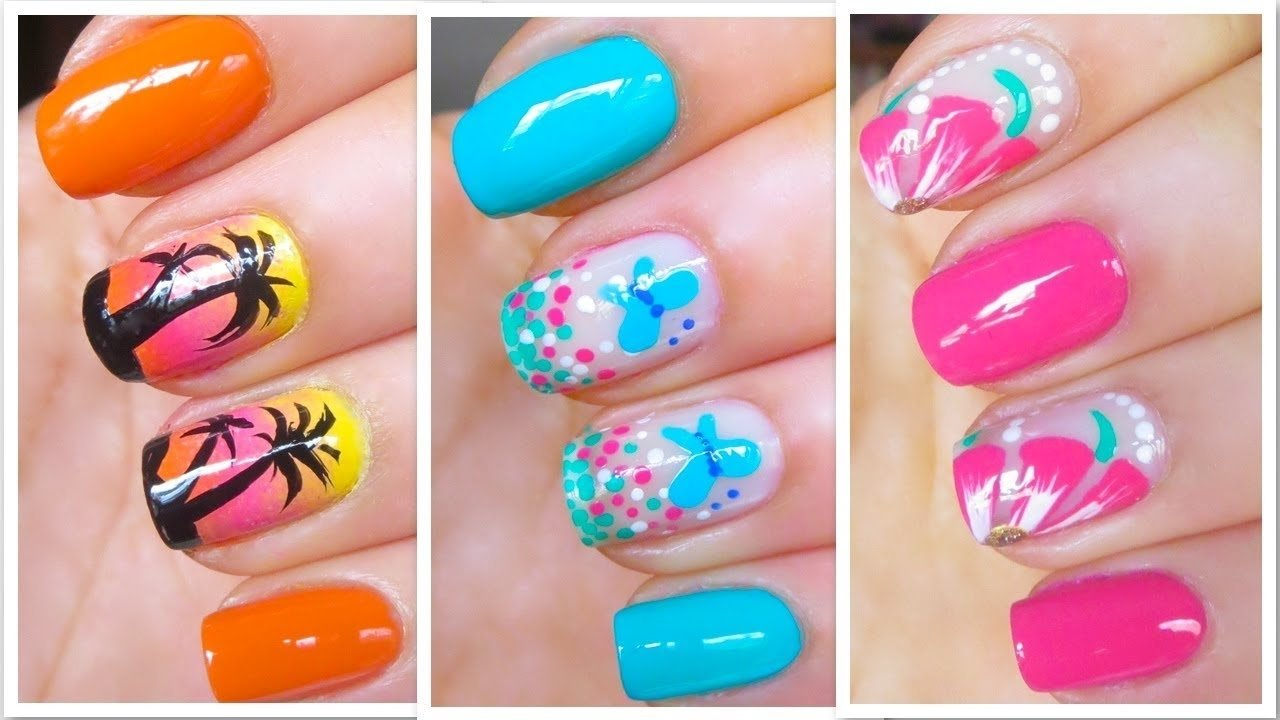 cute summer nail art designs easy tutorial - youtube