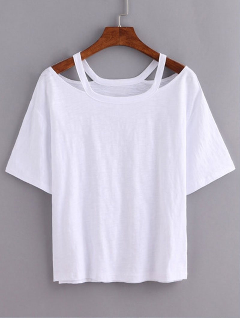 10 Lovely Ideas For Cutting T Shirts cutout loose fit white t shirt love to wear pinterest clothes 2020