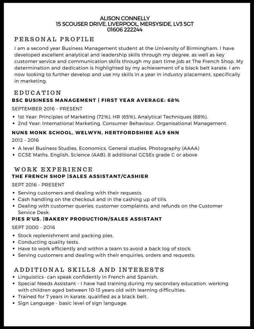 10 Stunning Job Ideas For 15 Year Olds cv example studentjob uk 1 2020