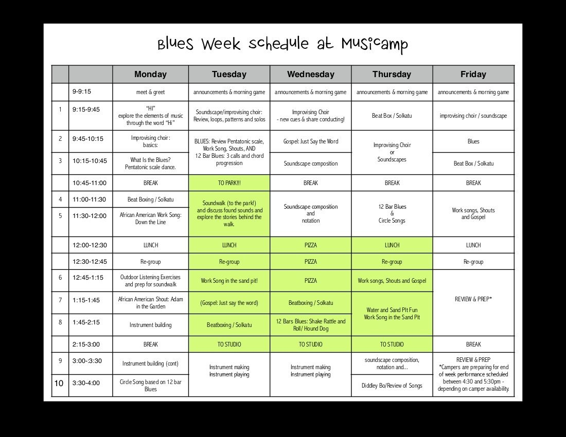 10 Great Summer Camp Theme Week Ideas daily schedule for blues week musicamp 2020