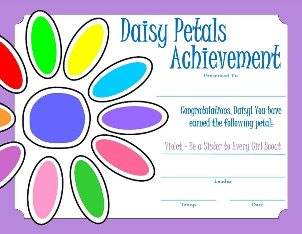 10 Attractive Considerate And Caring Daisy Petal Ideas daisy petals certificate violet girl scouts daisies