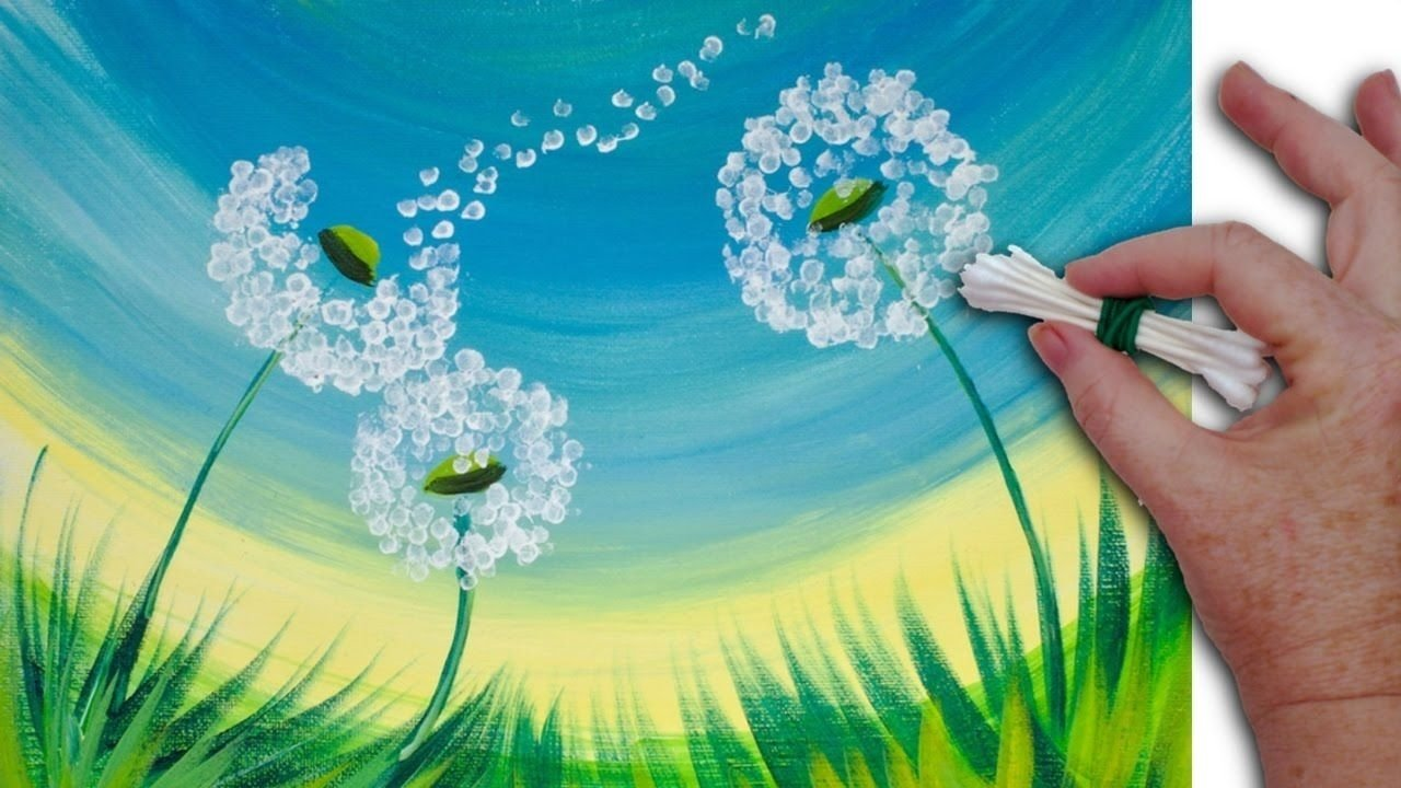 10 Fabulous Acrylic Painting Ideas For Beginners dandelion cotton swabs painting technique for beginners easy acrylic 2020