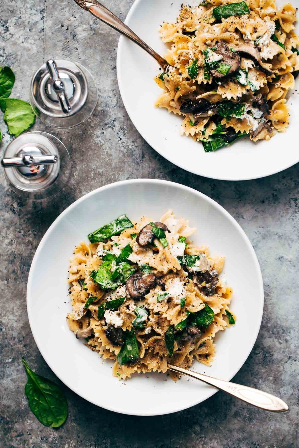 10 Unique Light Dinner Ideas For Two date night mushroom pasta with goat cheese recipe pinch of yum 1
