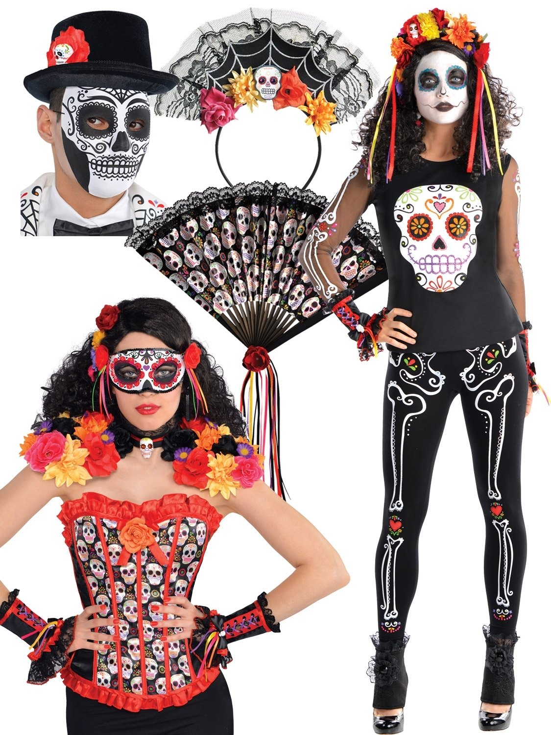 10 Great Day Of The Dead Halloween Costume Ideas day of the dead shirt all accessories fancy dress hub 2020