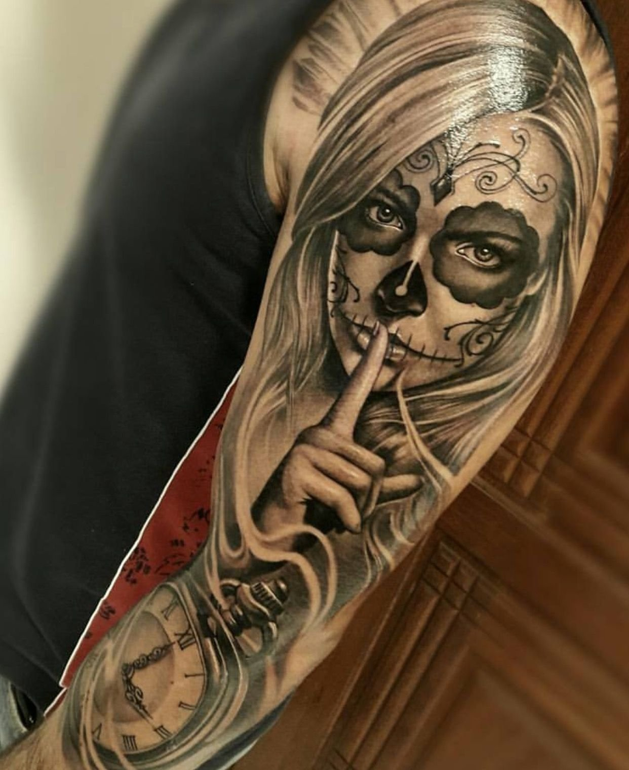 10 Fashionable Day Of The Dead Tattoo Ideas day of the dead tattoo sleeve tattoo pinterest tatouages 2021