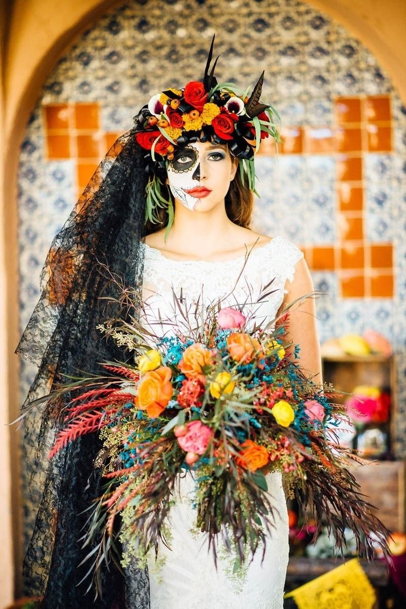 10 Ideal Day Of The Dead Wedding Ideas day of the dead wedding ideas halloween weddings veil and wedding