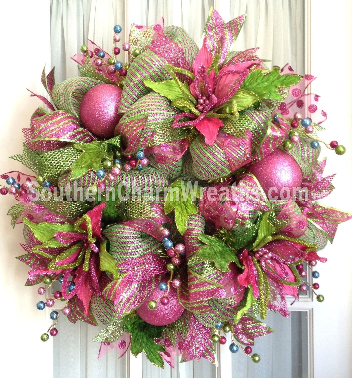 10 Lovely Christmas Deco Mesh Wreath Ideas deco mesh christmas wreath hot pink lime green for door or wall 2020