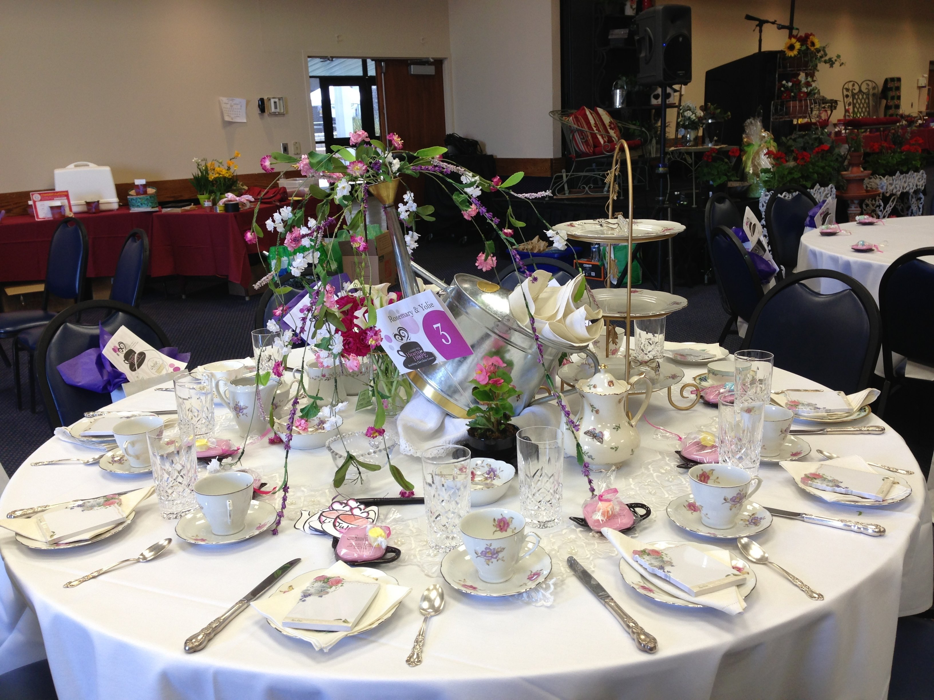"decorated for a ladies tea party for charity ""club christ"" helping"
