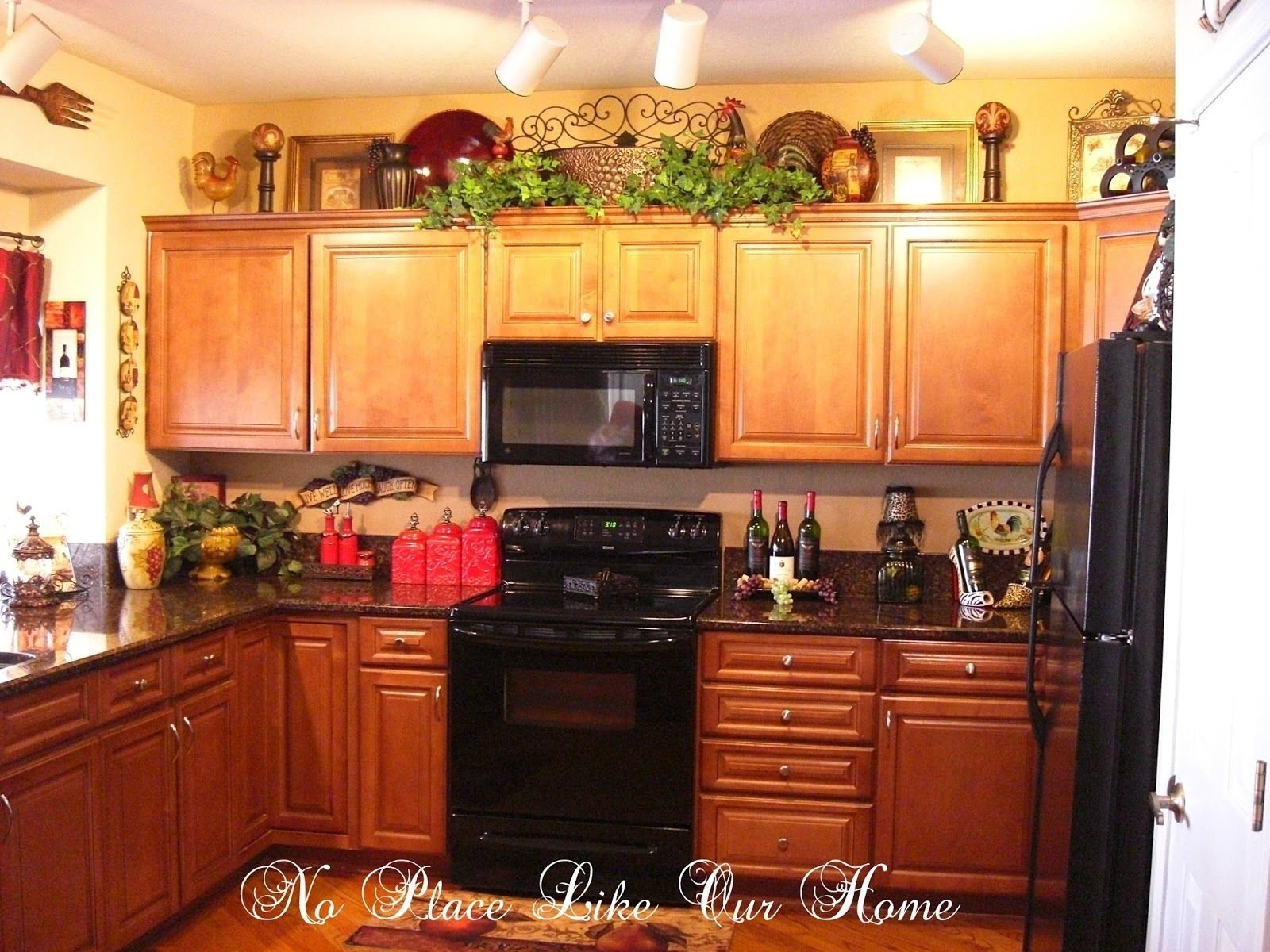 decorating above kitchen cabinets tuscany | here's a closer look at