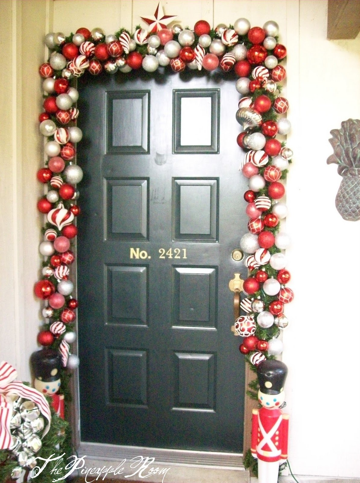 10 Unique Christmas Front Door Decorating Ideas decorations beautiful ball garland christmas entrance door decor 2020