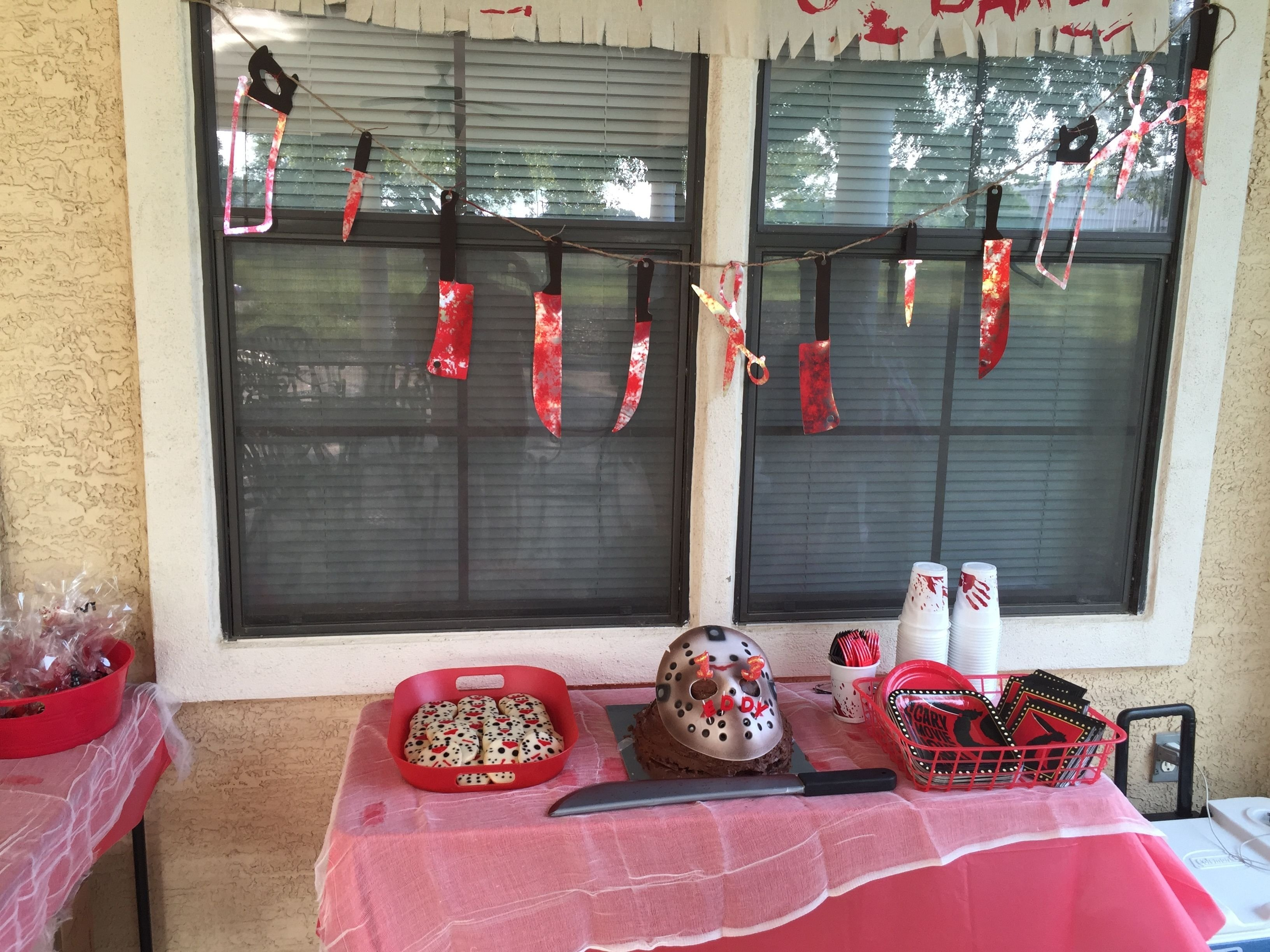 decorations for the friday the 13th birthday party. not bad for