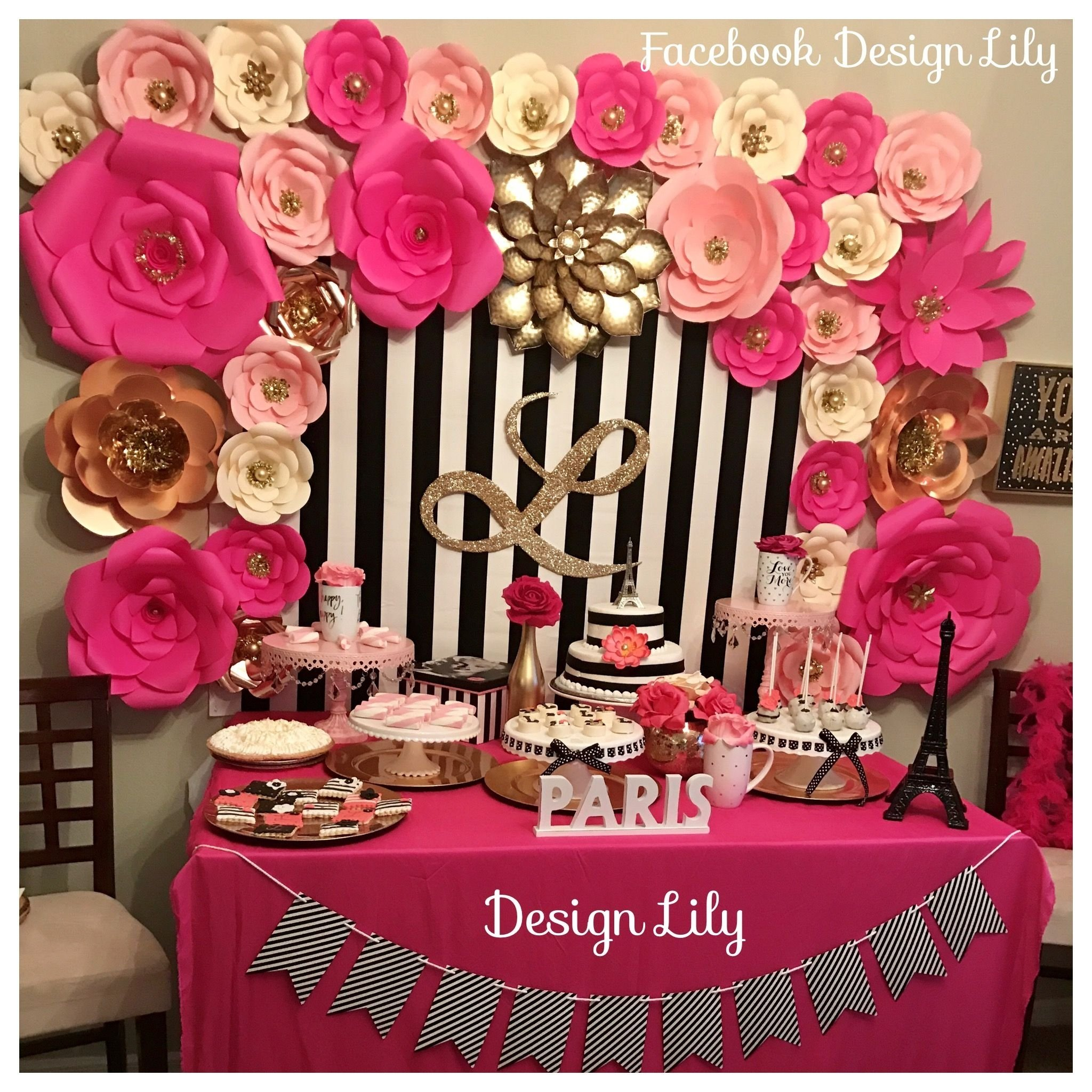 10 Beautiful Pink And Black Birthday Party Ideas decorations kate spade white black pink fusia and gold party 1 2020
