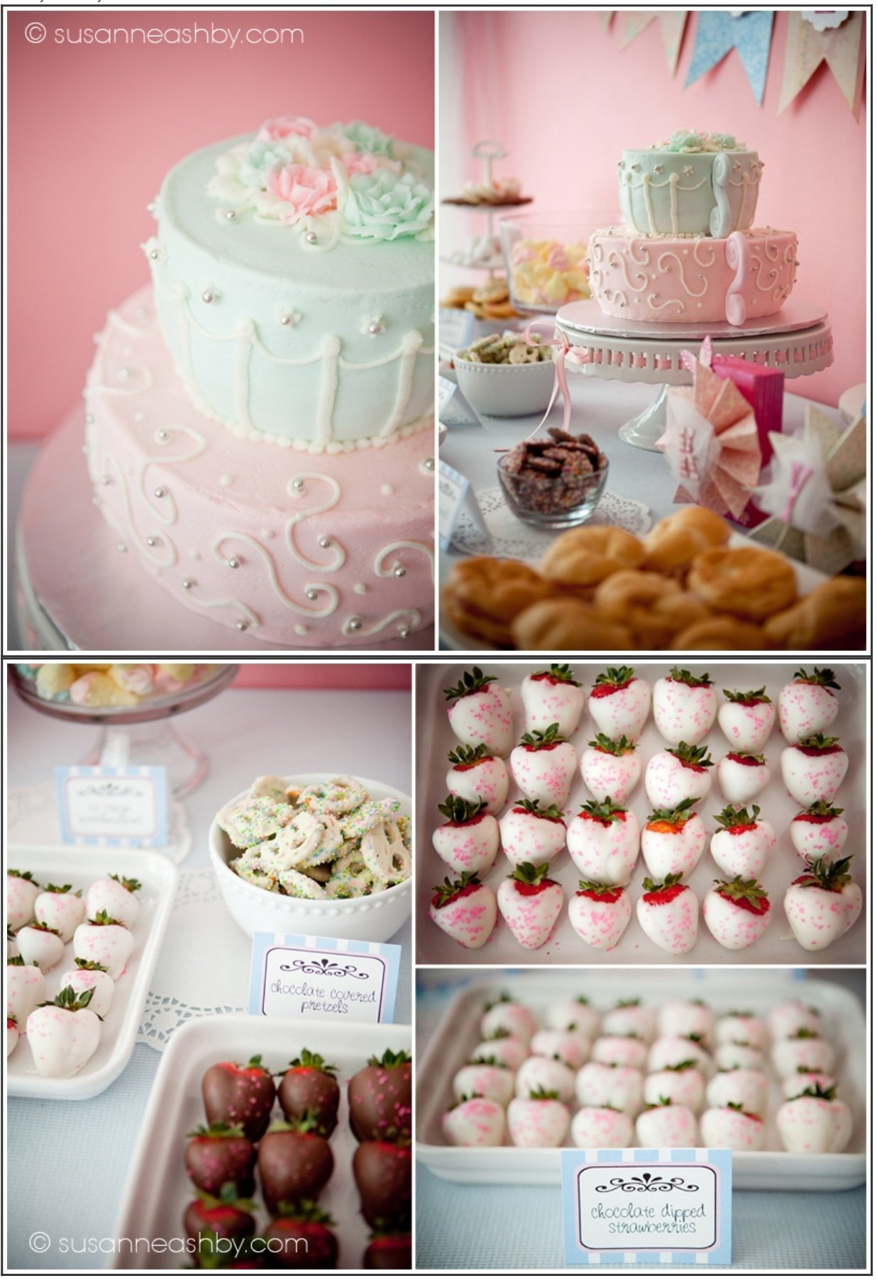 delicious sweets and beautiful tea party decorations to go with