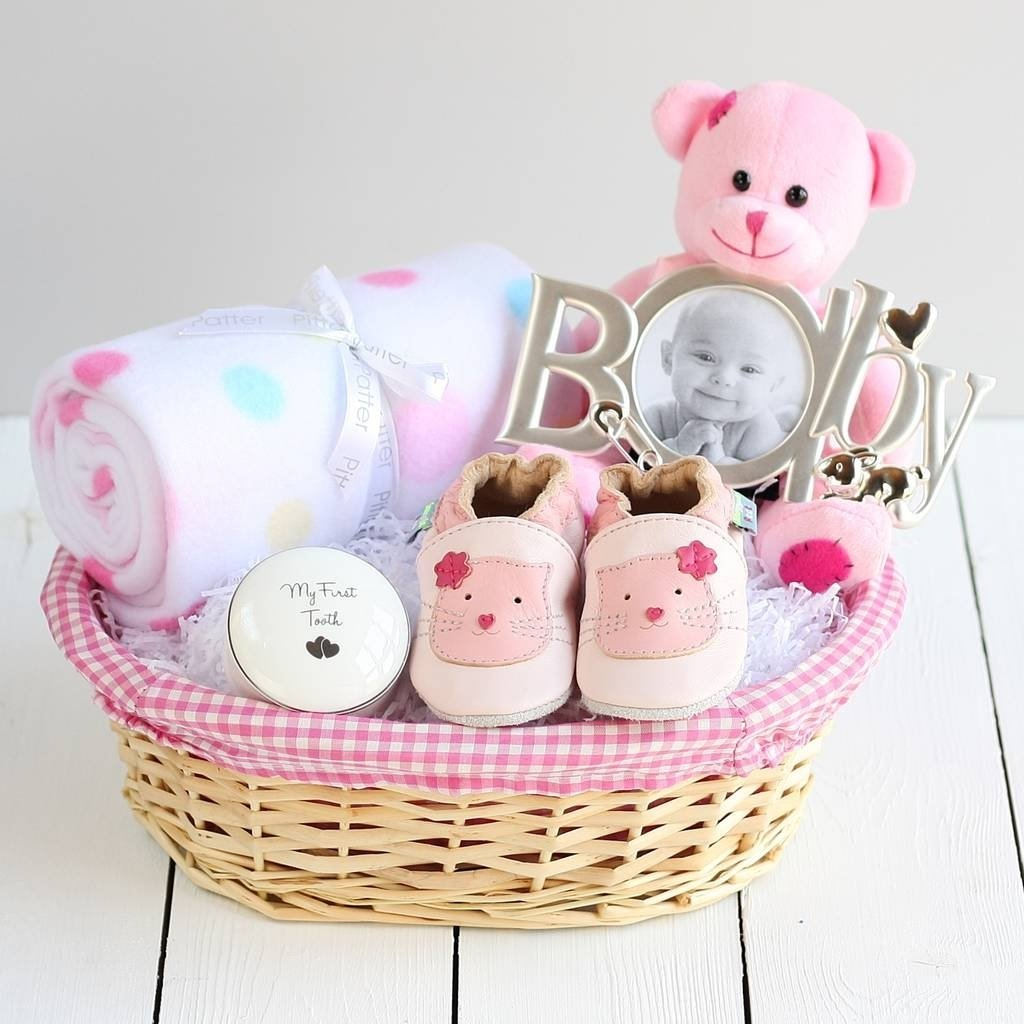 deluxe girl new baby gift basketsnuggle feet