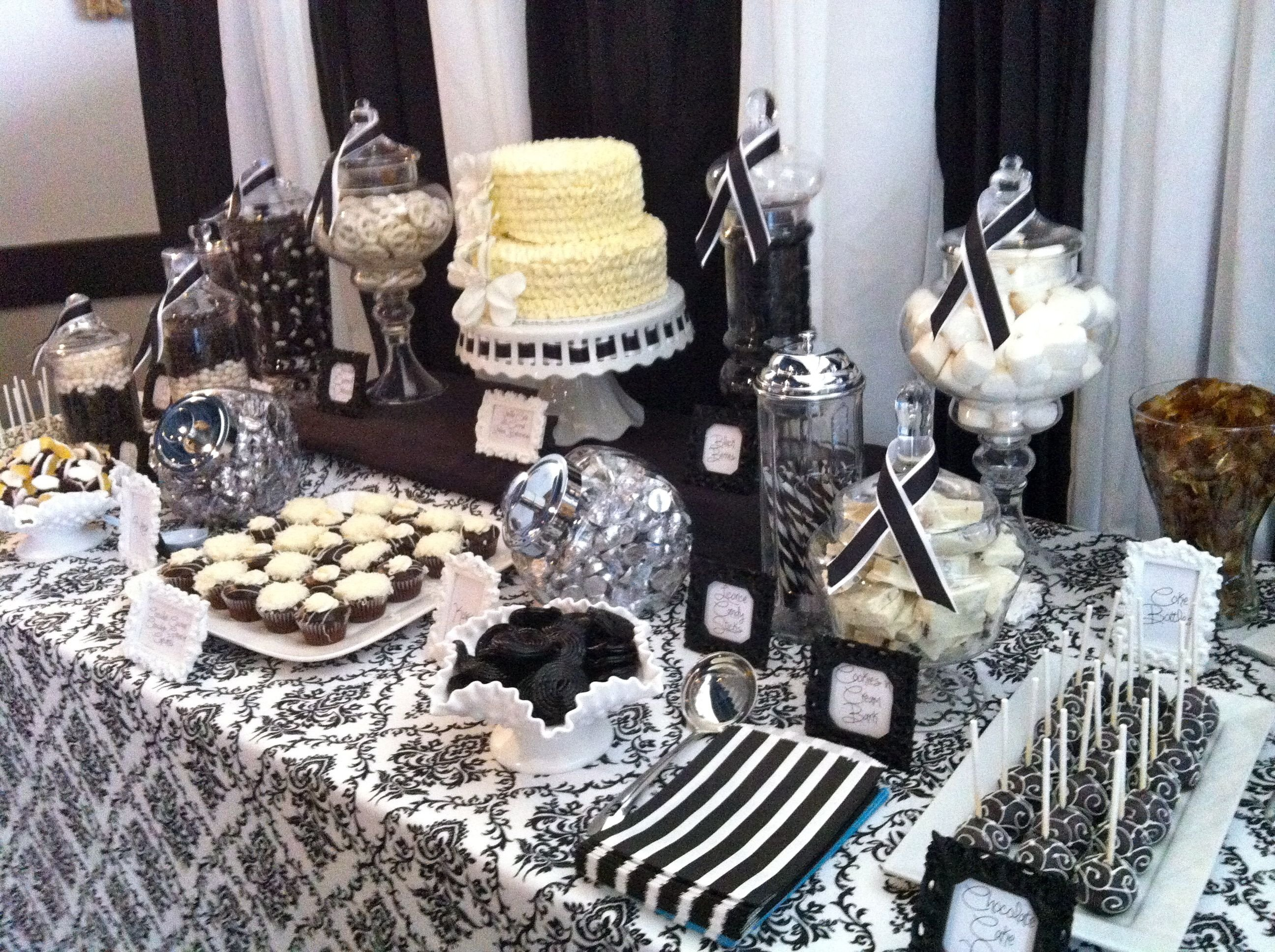 dessert table} black and white damask bridal shower | white desserts