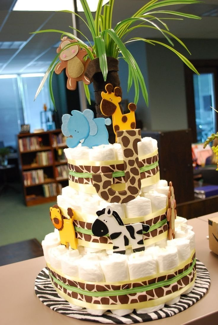 10 Stylish Safari Theme Baby Shower Ideas diaper cake i made for an animal themed baby shower party baby 1 2020