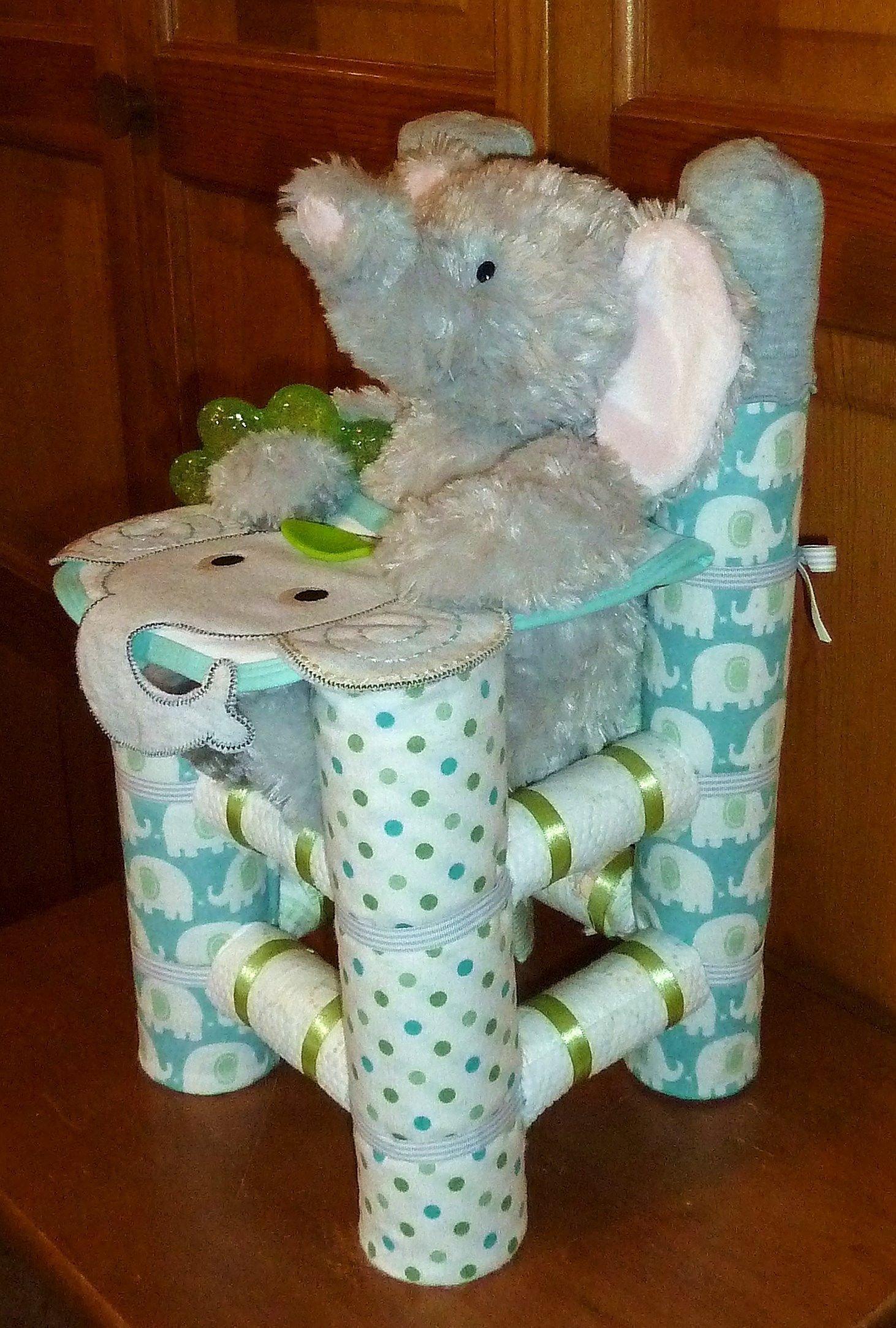 10 Pretty Diaper Ideas For Baby Shower Gift diaper high chair boy elephant www etsy shop creationsbydawne 1 2020
