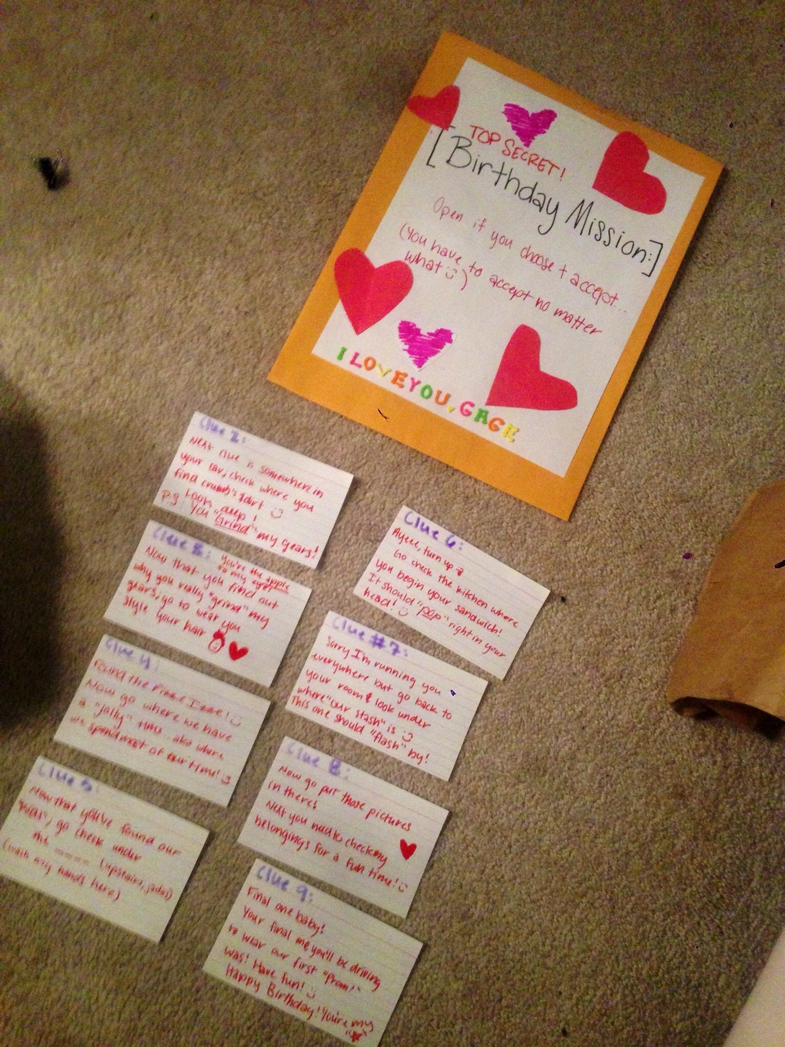 10 Lovely Cute Note Ideas For Boyfriend did a scavenger hunt for my boyfriends 18th birthday hoping he 1