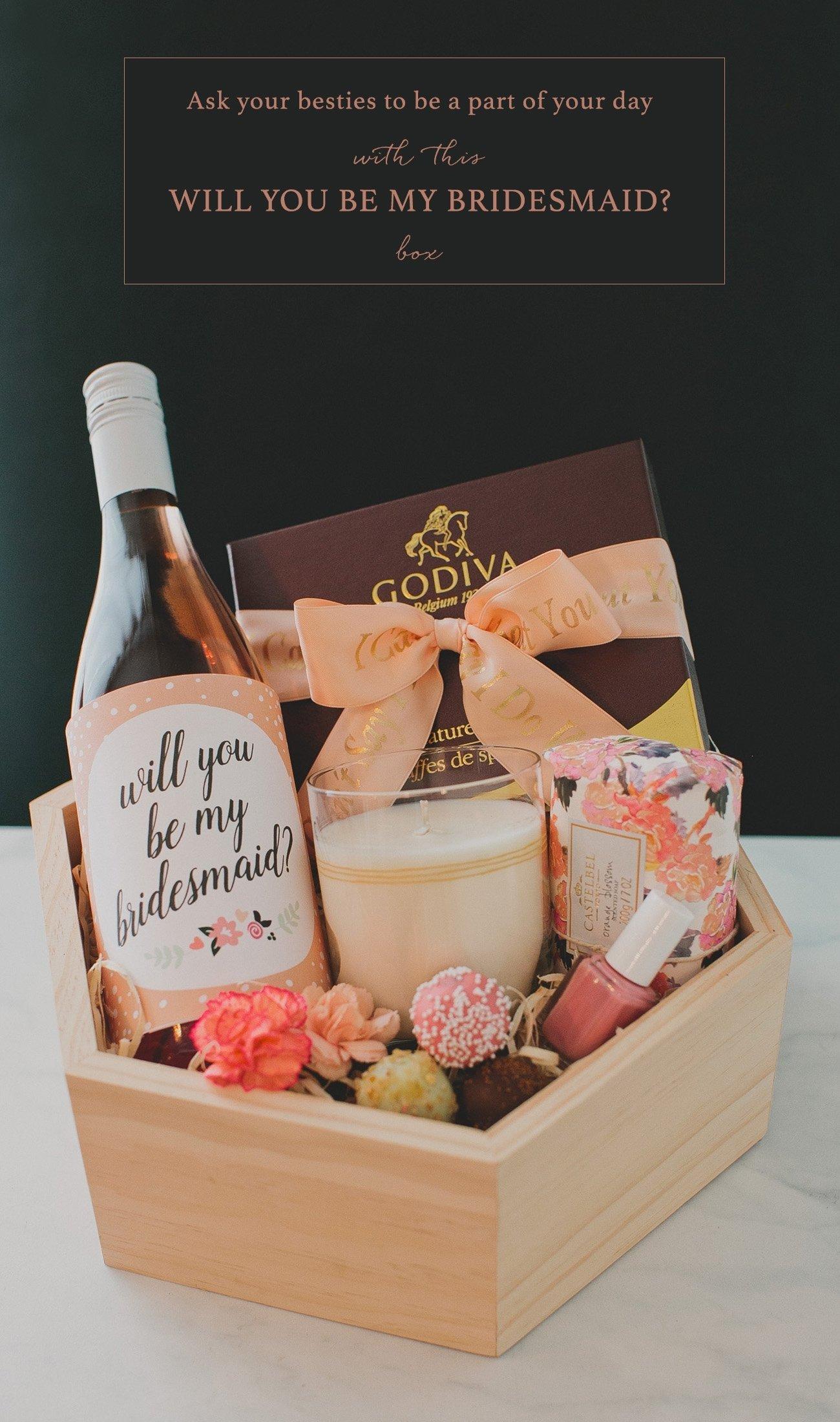 10 Wonderful Diy Will You Be My Bridesmaid Ideas diy bridesmaid gift box with godiva green wedding shoes 2020